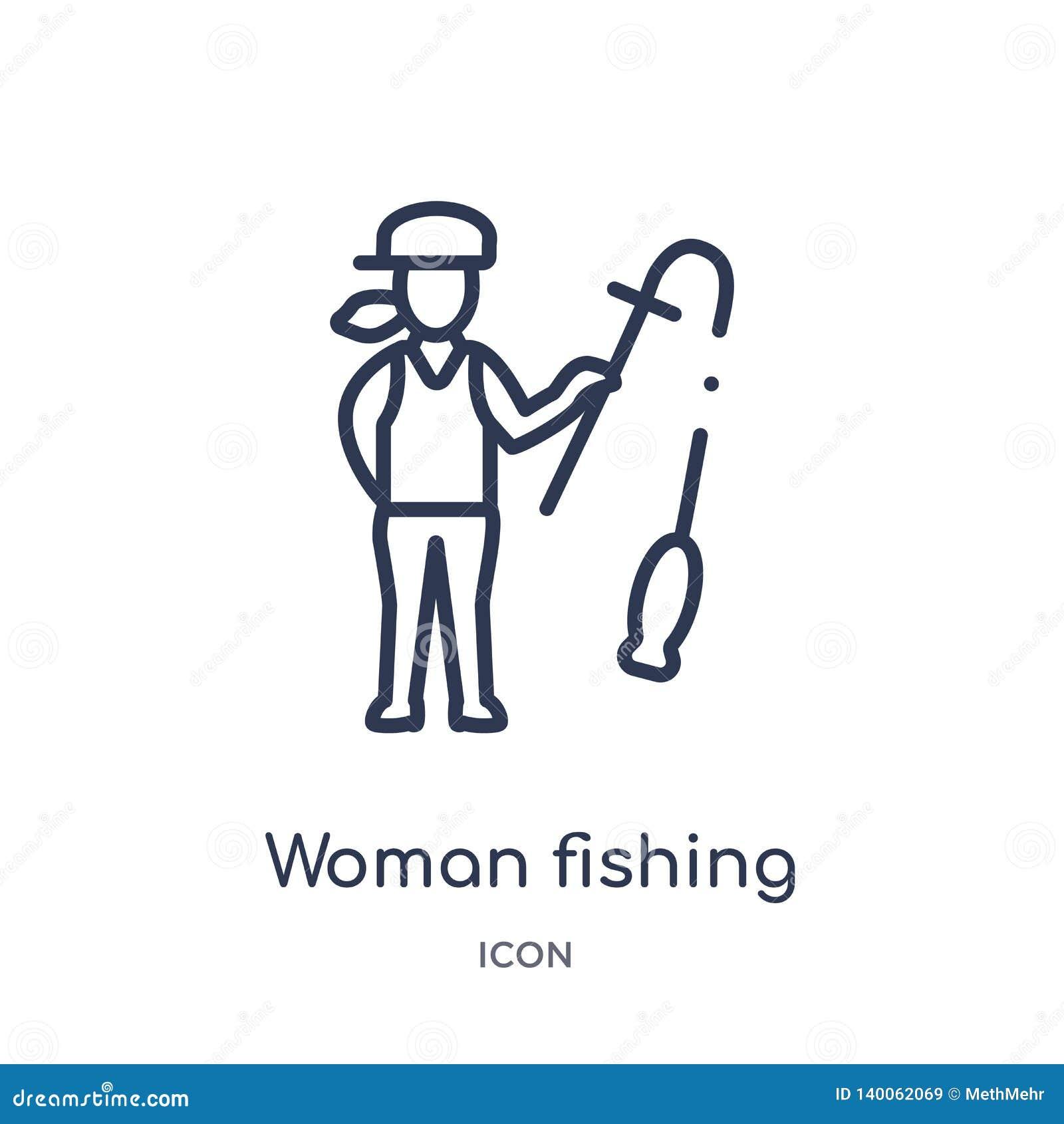 Linjär kvinna som fiskar symbolen från damöversiktssamling Tunn linje kvinna som fiskar symbolen som isoleras på vit bakgrund Kvi