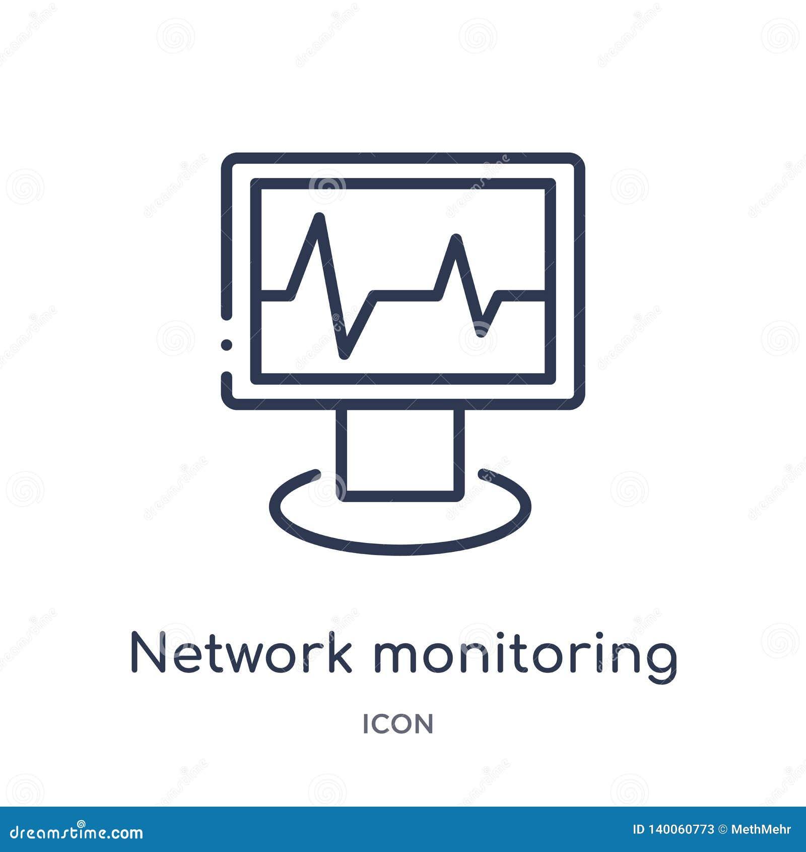 Linjär nätverksövervakningsymbol från säkerhet och att knyta kontakt för internet översiktssamlingen Tunn linje nätverksövervakni