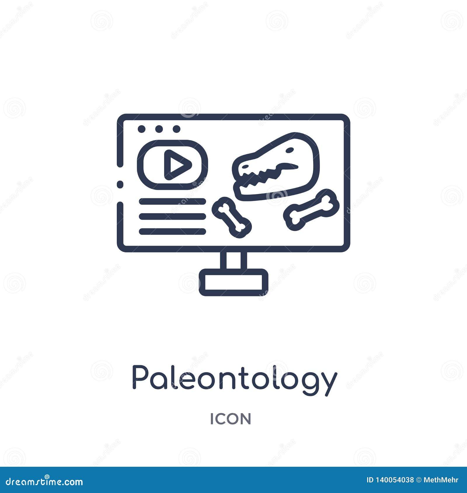 Linjär paleontologisymbol från elearning- och utbildningsöversiktssamling Tunn linje paleontologivektor som isoleras på vit