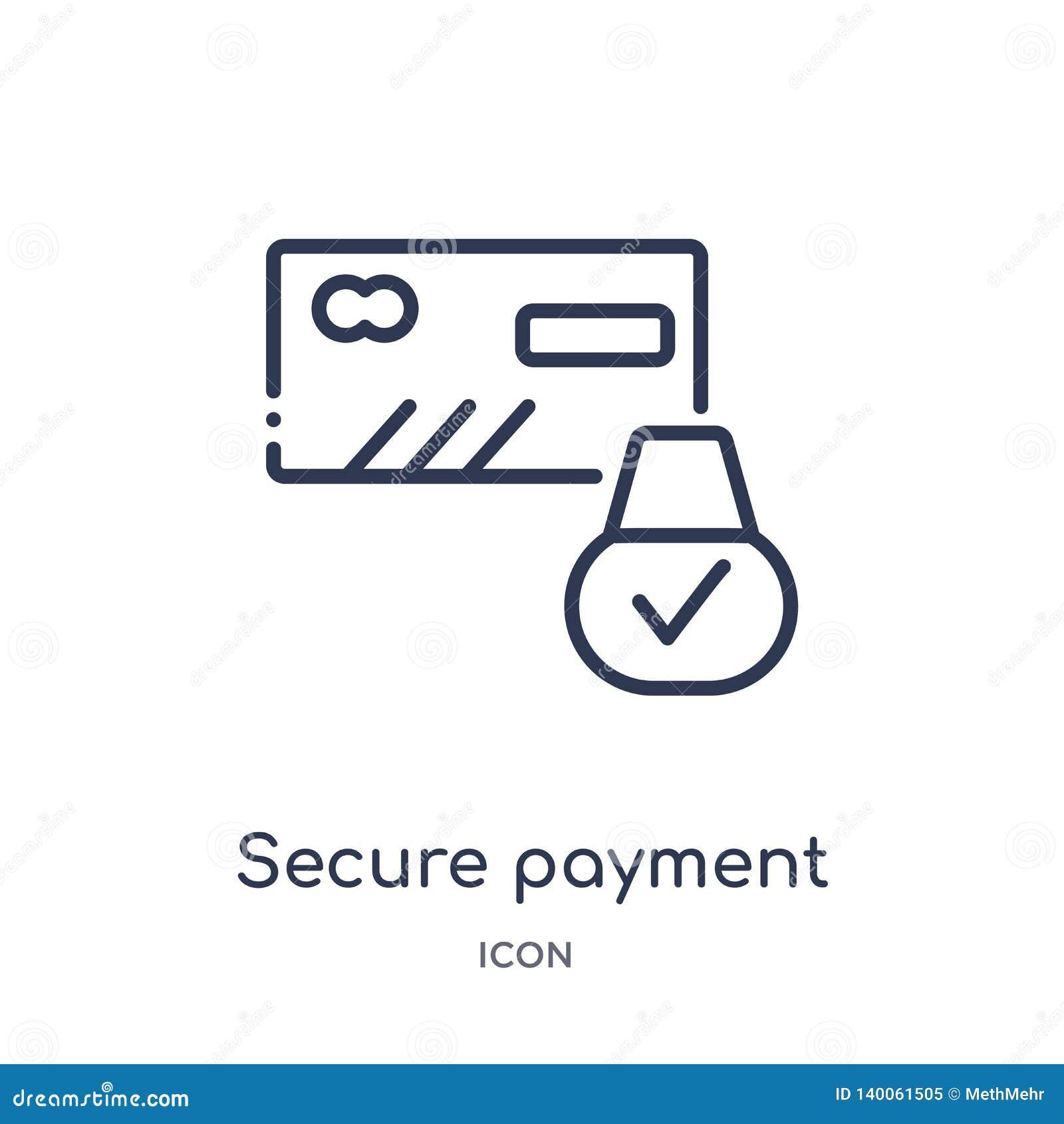 Linjär säker betalningsymbol från säkerhet och att knyta kontakt för internet översiktssamlingen Tunn linje säker betalningsymbol