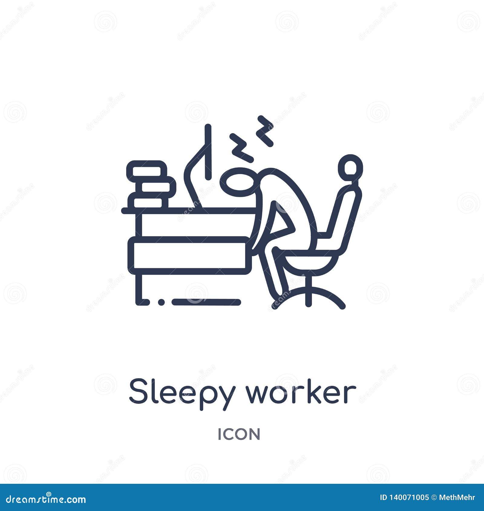 Linjär sömnig arbetare på arbetssymbolen från affärsöversiktssamling Tunn linje sömnig arbetare på arbetssymbolen som isoleras på