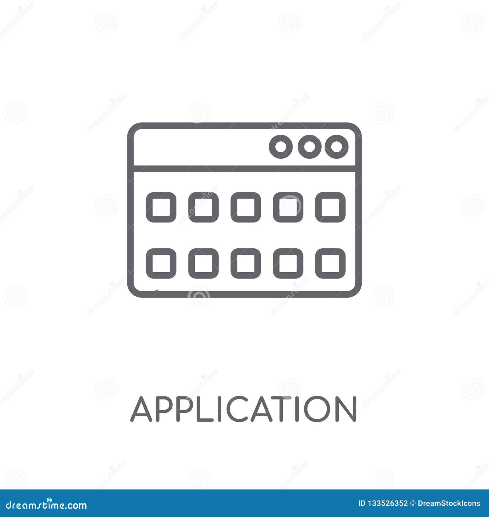Linjär symbol för applikation Modernt begrepp för översiktsapplikationlogo