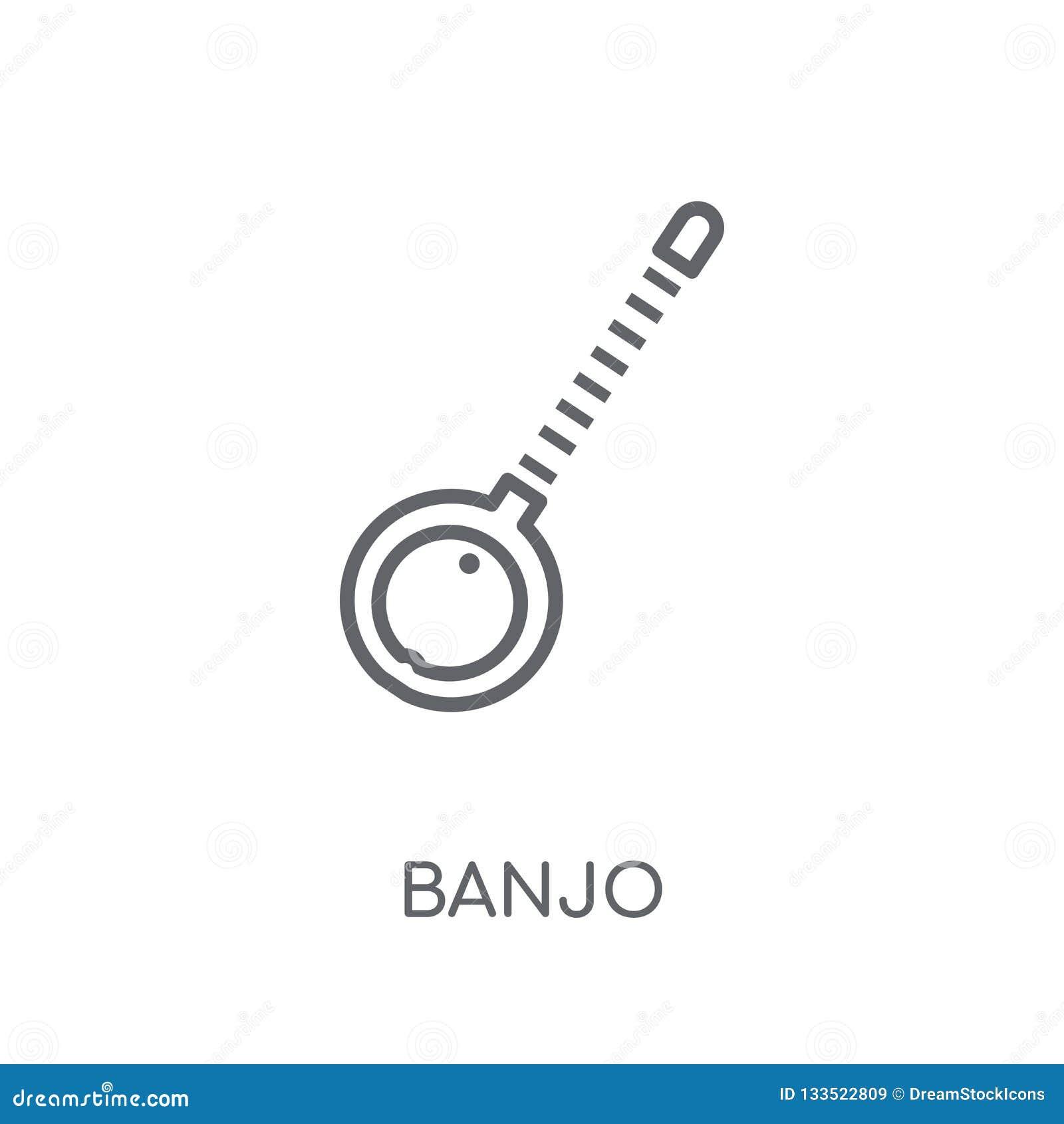 Linjär symbol för banjo Modernt begrepp för översiktsbanjologo på vita lodisar