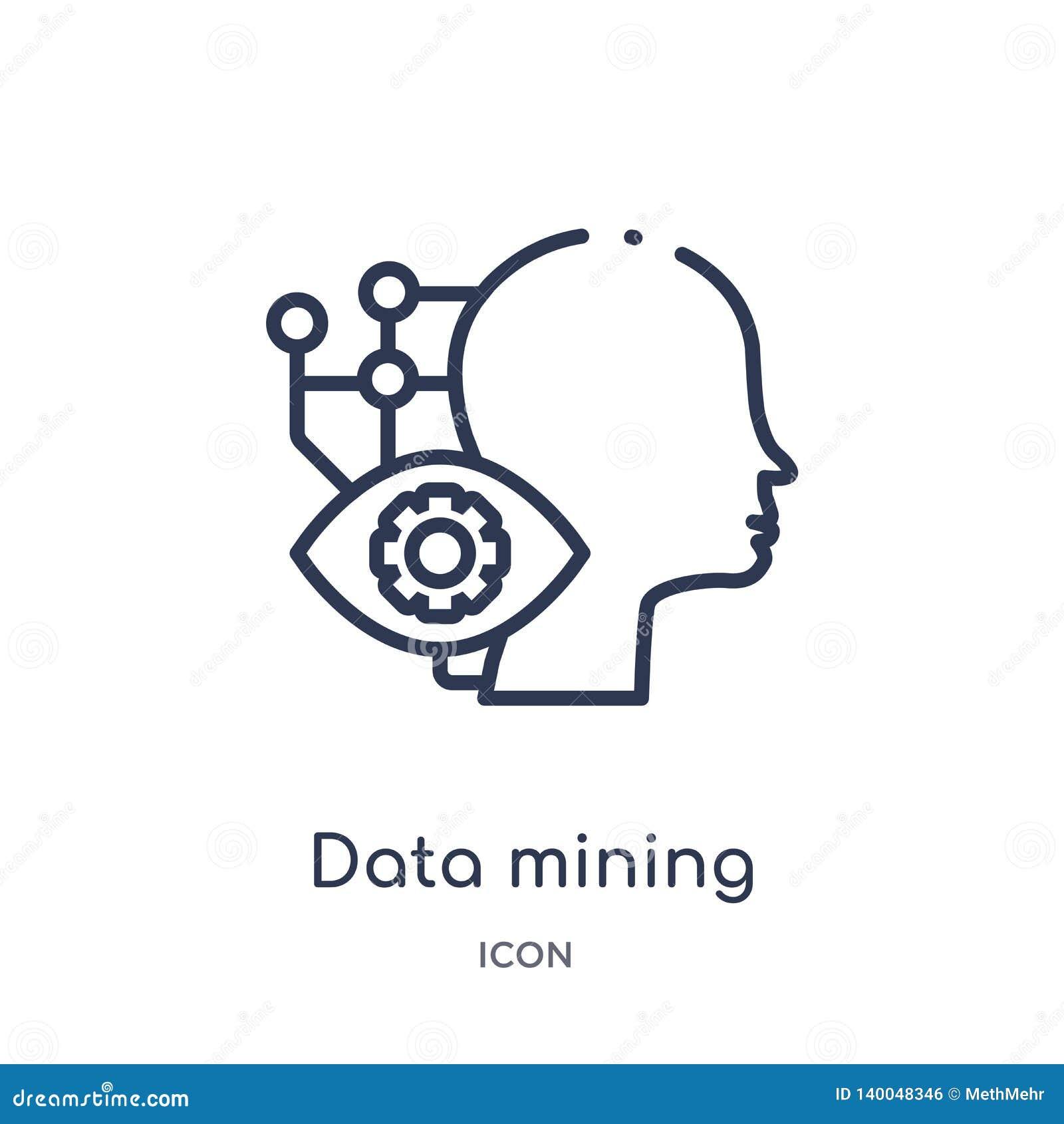 Linjär symbol för bryta för data från konstgjord intellegence och den framtida teknologiöversiktssamlingen Tunn linje vektor för