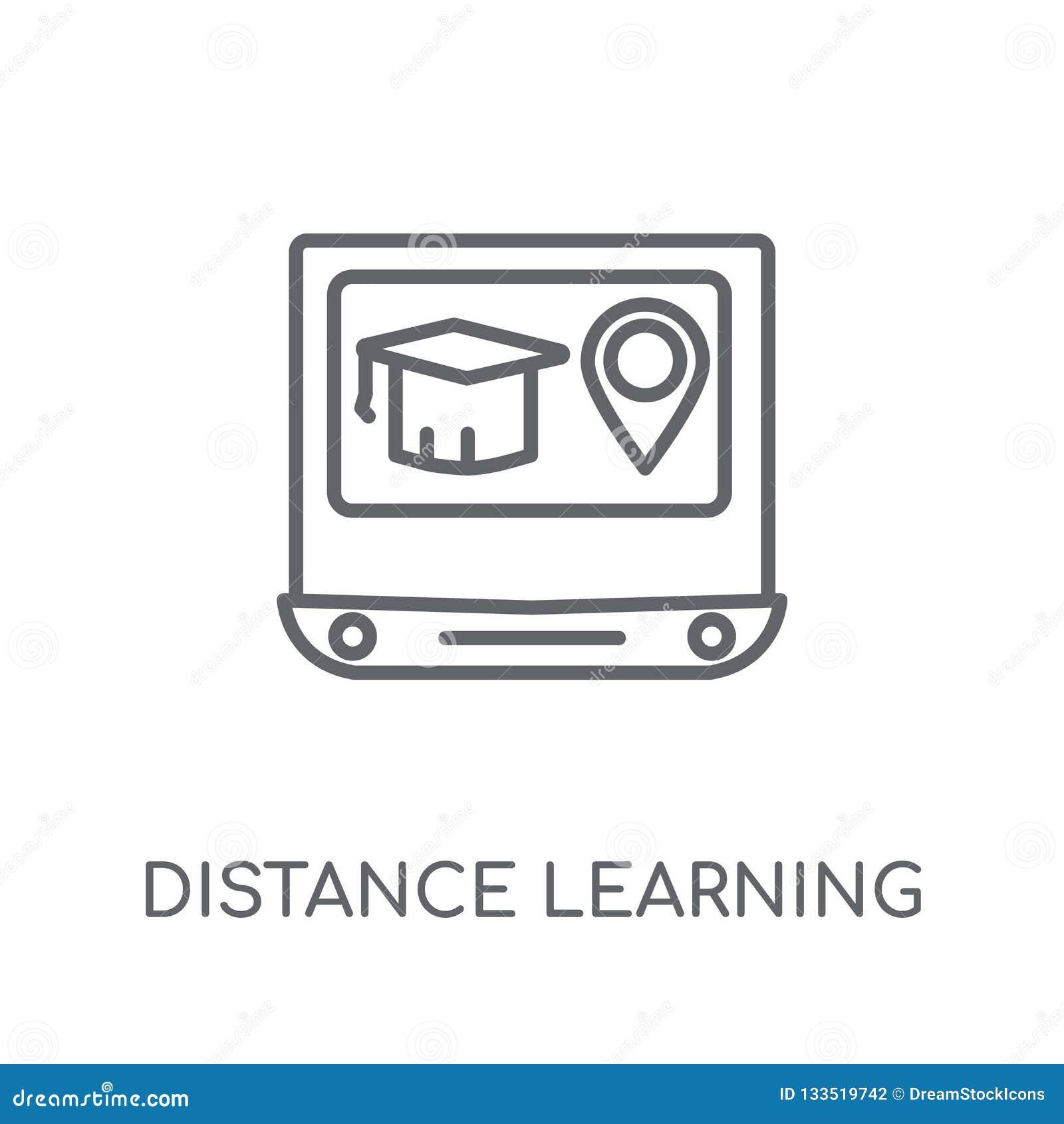 Linjär symbol för distansutbildning Modern översiktsdistansutbildning