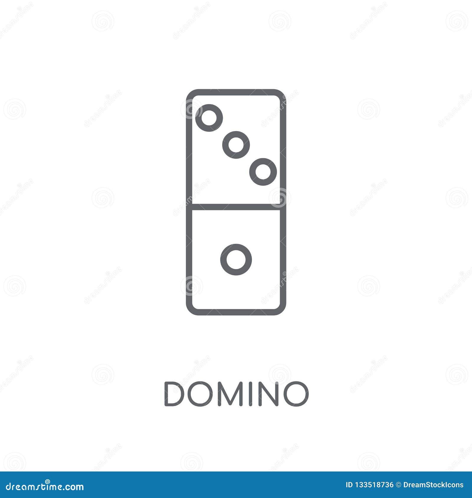 Linjär symbol för dominobricka Modernt begrepp för översiktsdominobrickalogo på vit
