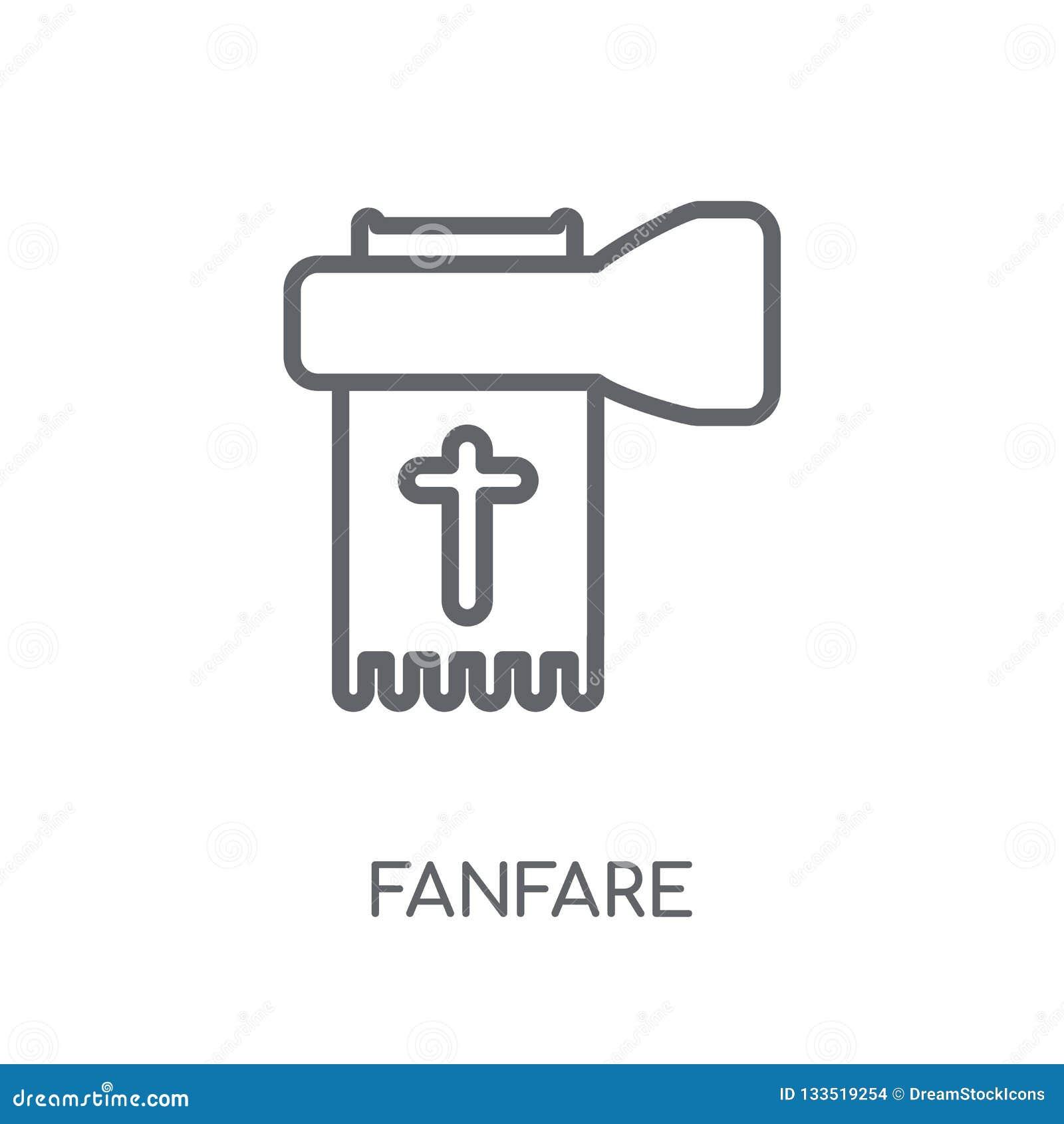Linjär symbol för fanfar Modernt begrepp för översiktsfanfarlogo på whit