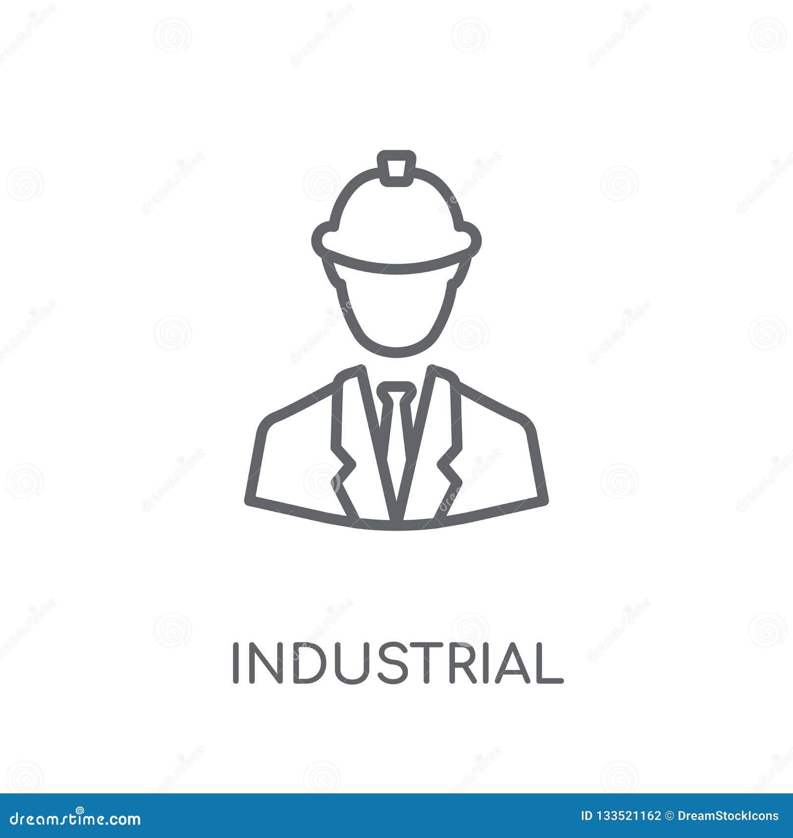 Linjär symbol för industriell tekniker Modern översikt industriella Engin