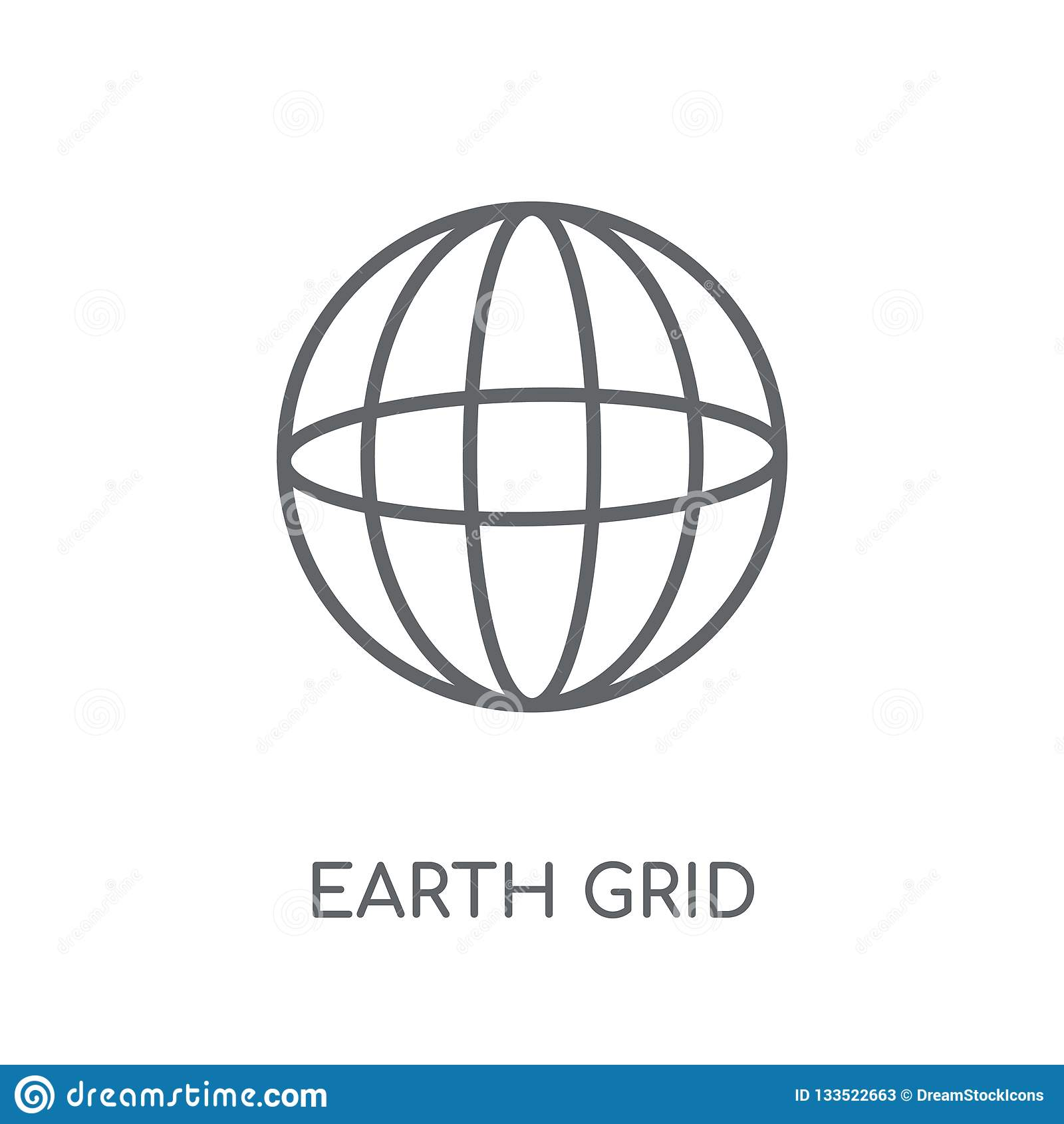 Linjär symbol för jordraster Modern nolla för begrepp för logo för översiktsjordraster