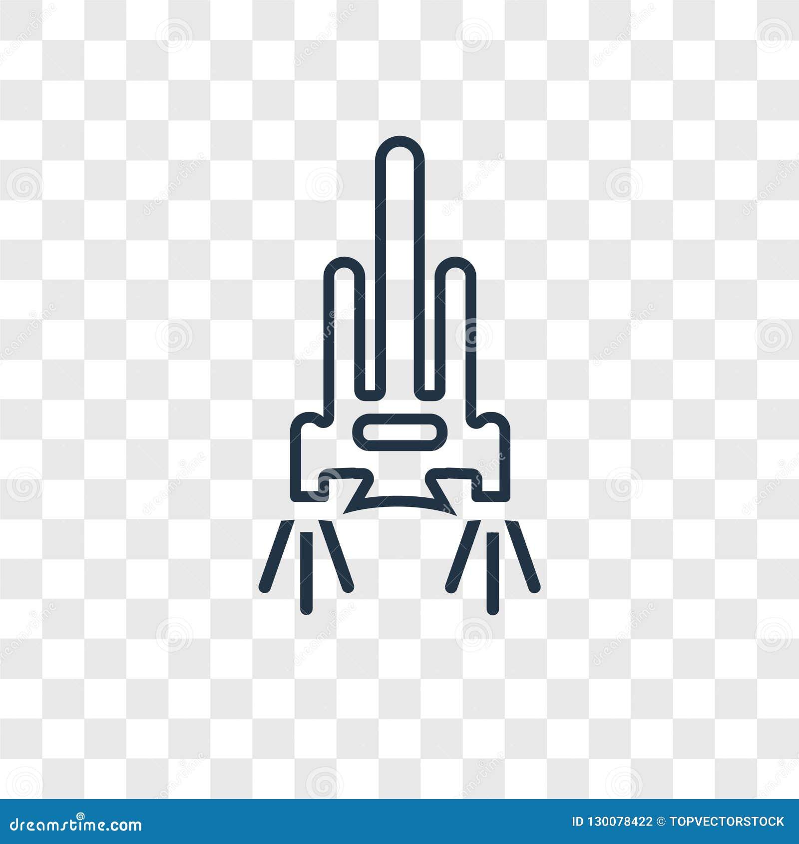 Linjär symbol för rymdfärjabegreppsvektor som isoleras på genomskinligt