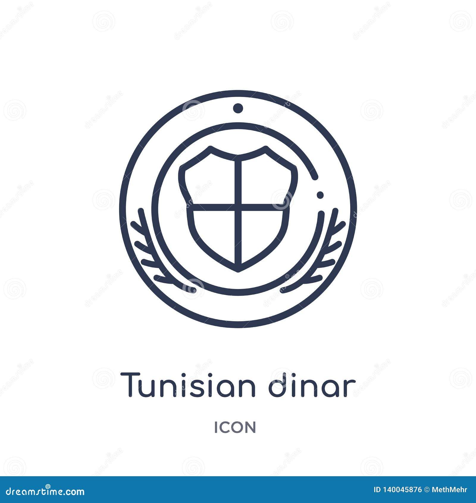 Linjär symbol för tunisian dinar från Afrika översiktssamling Tunn linje vektor för tunisian dinar som isoleras på vit bakgrund t