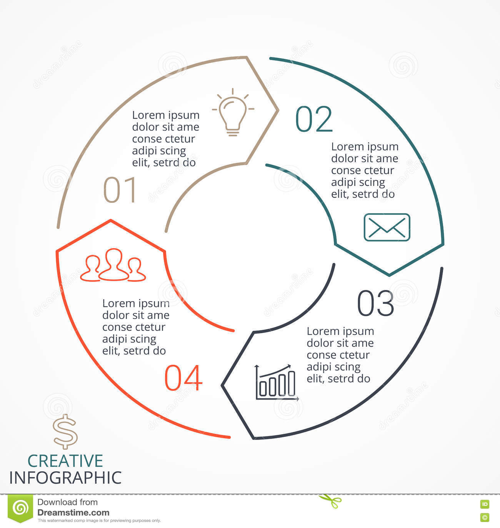 Linjärt infographic för vektorcirkelpilar, diagram, graf, presentation, diagram Konjunkturbegrepp med 4 alternativ
