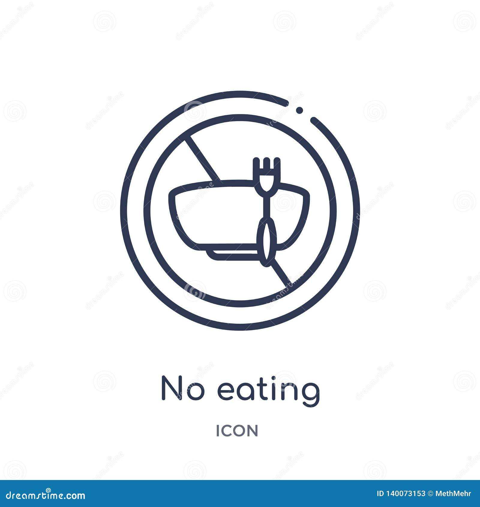 Linjärt ingen ätasymbol från matöversiktssamling Tunn linje ingen ätasymbol som isoleras på vit bakgrund inte äta som är moderikt