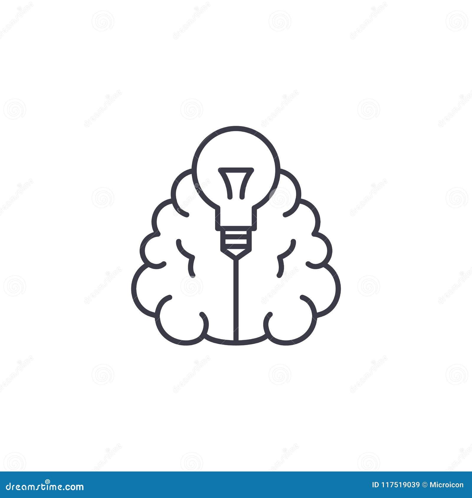Linjärt symbolsbegrepp för innovativa idéer Innovativa idéer fodrar vektortecknet, symbolet, illustration
