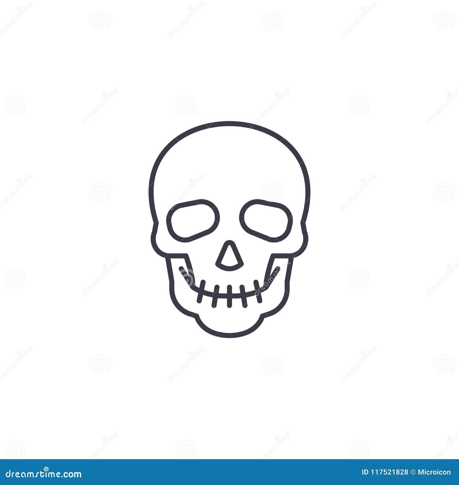 Linjärt symbolsbegrepp för skalle Skallelinje vektortecken, symbol, illustration