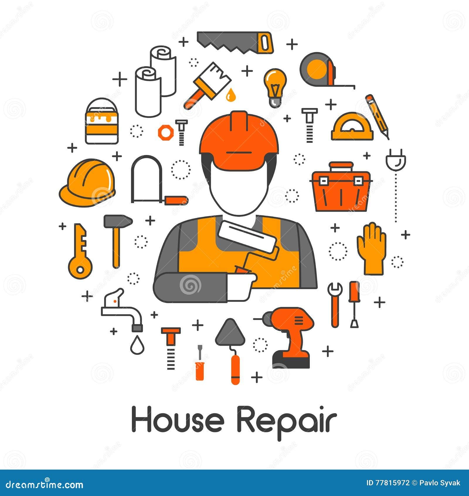 Linje Art Thin Icons Set för husreparationsrenovering med repairmanen och hjälpmedel