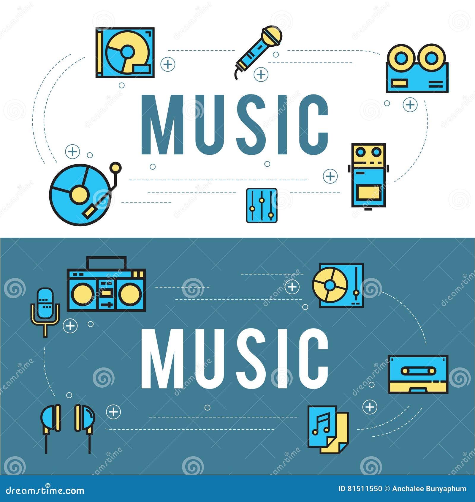 Linje design för musiksymbolsuppsättning