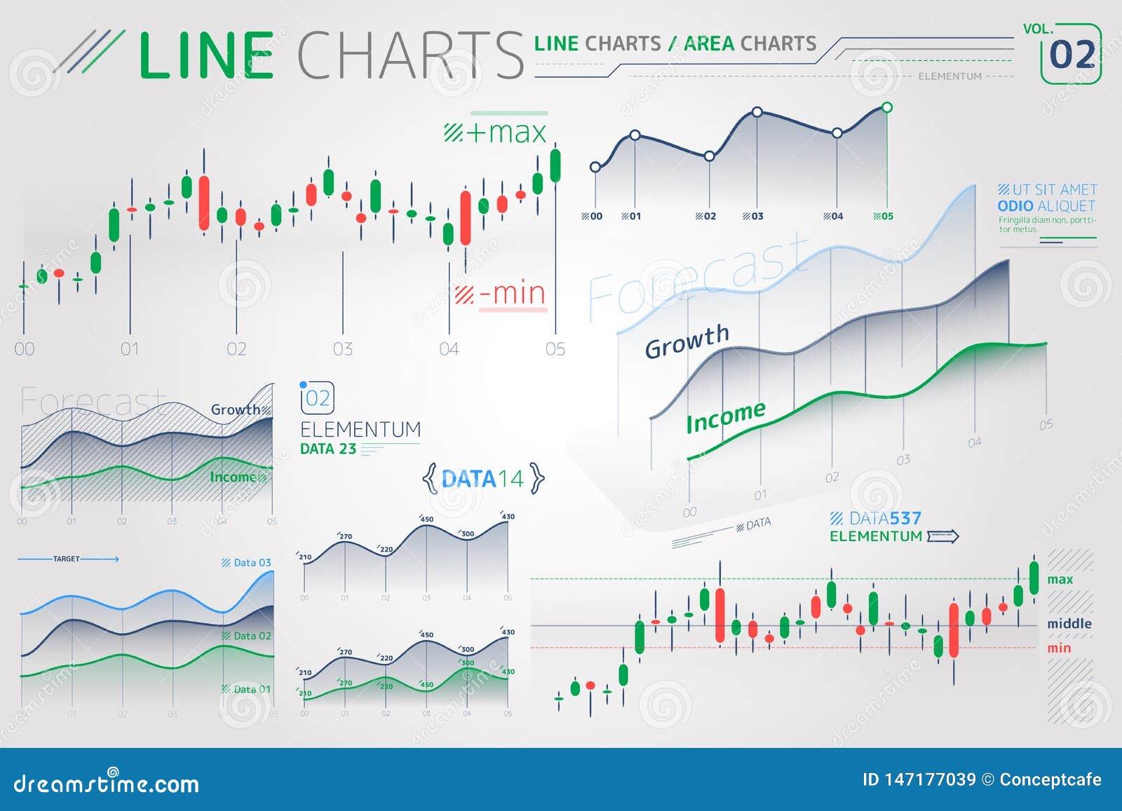 Linje diagram och Infographic f?r omr?desdiagram best?ndsdelar