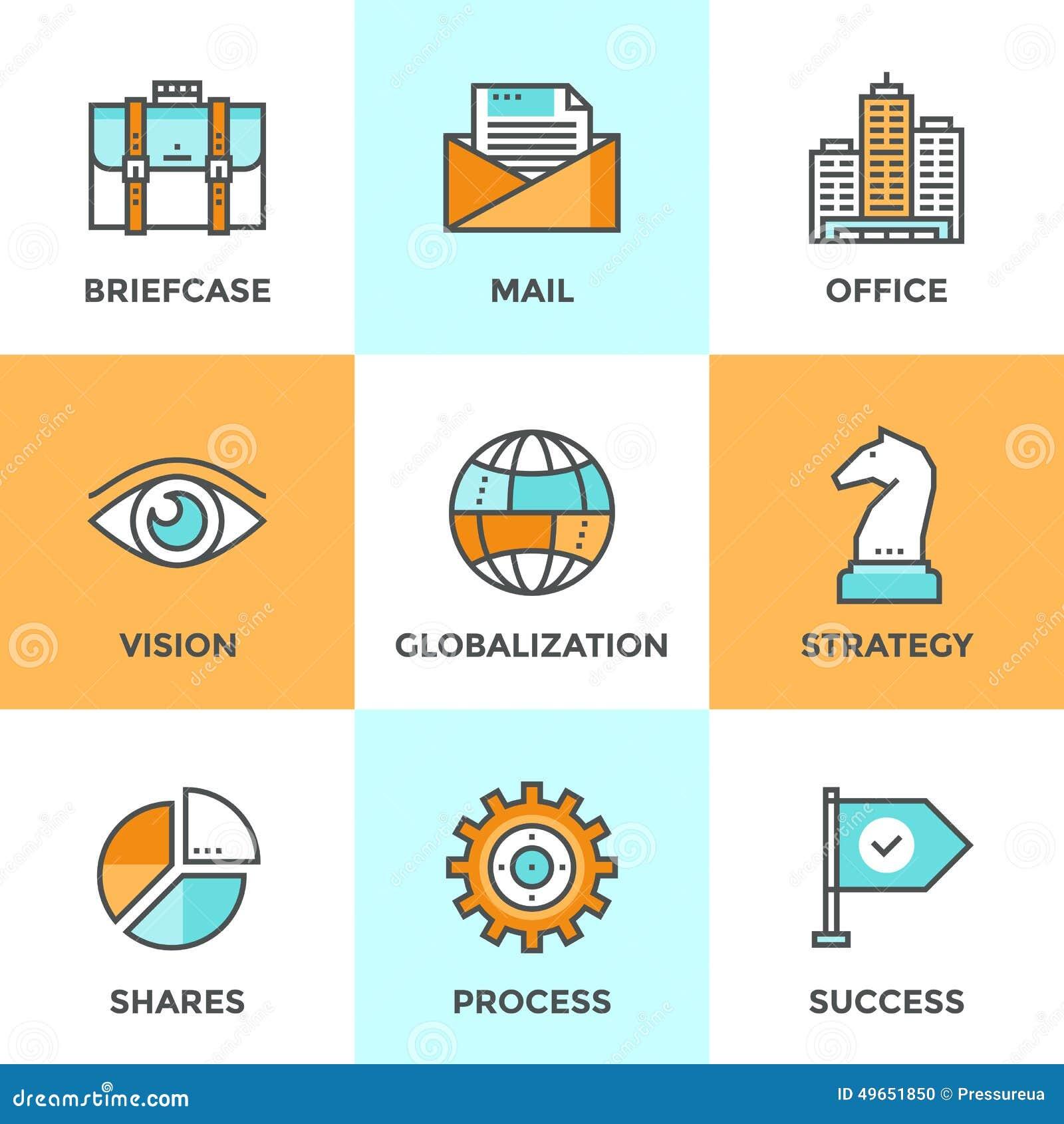 Linje för global affär symbolsuppsättning