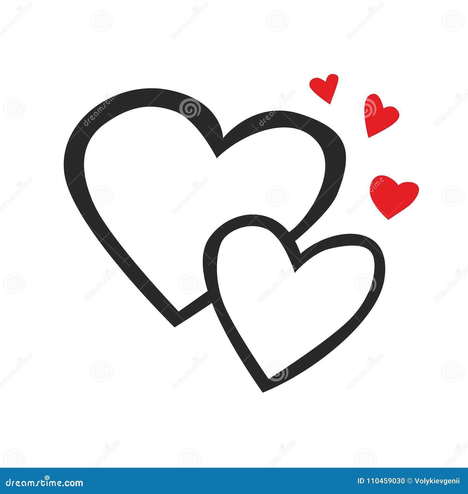 Linje för två hjärtor symbol