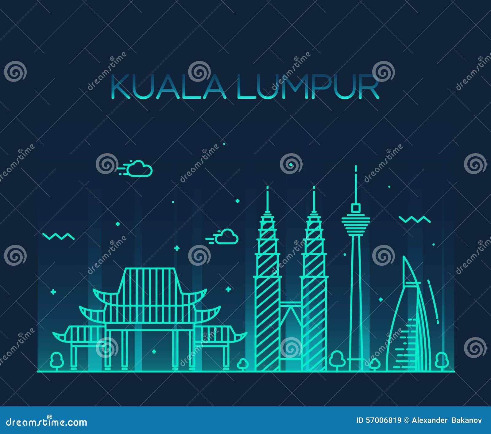 Linje konst för Kuala Lumpur Trendy vektorillustration