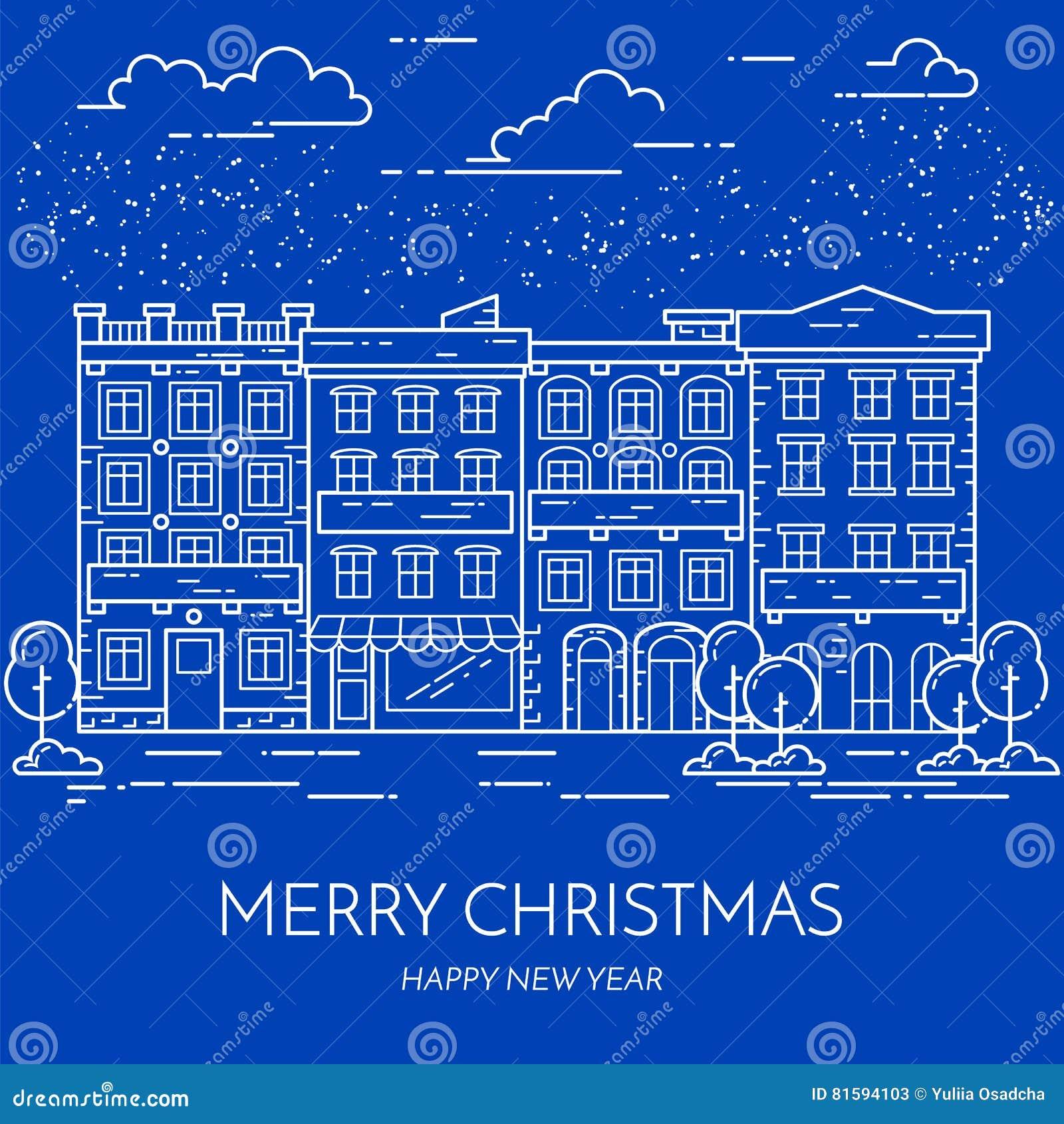Linje konst för lägenhet för landskap för gata för stad vinterChrismas för nytt år