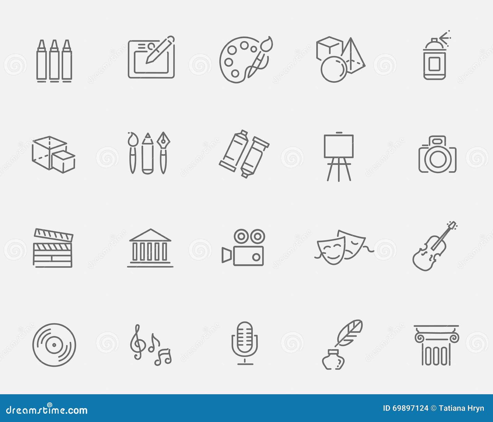Linje konstsymboler Musik, teater och konstnärliga symboler