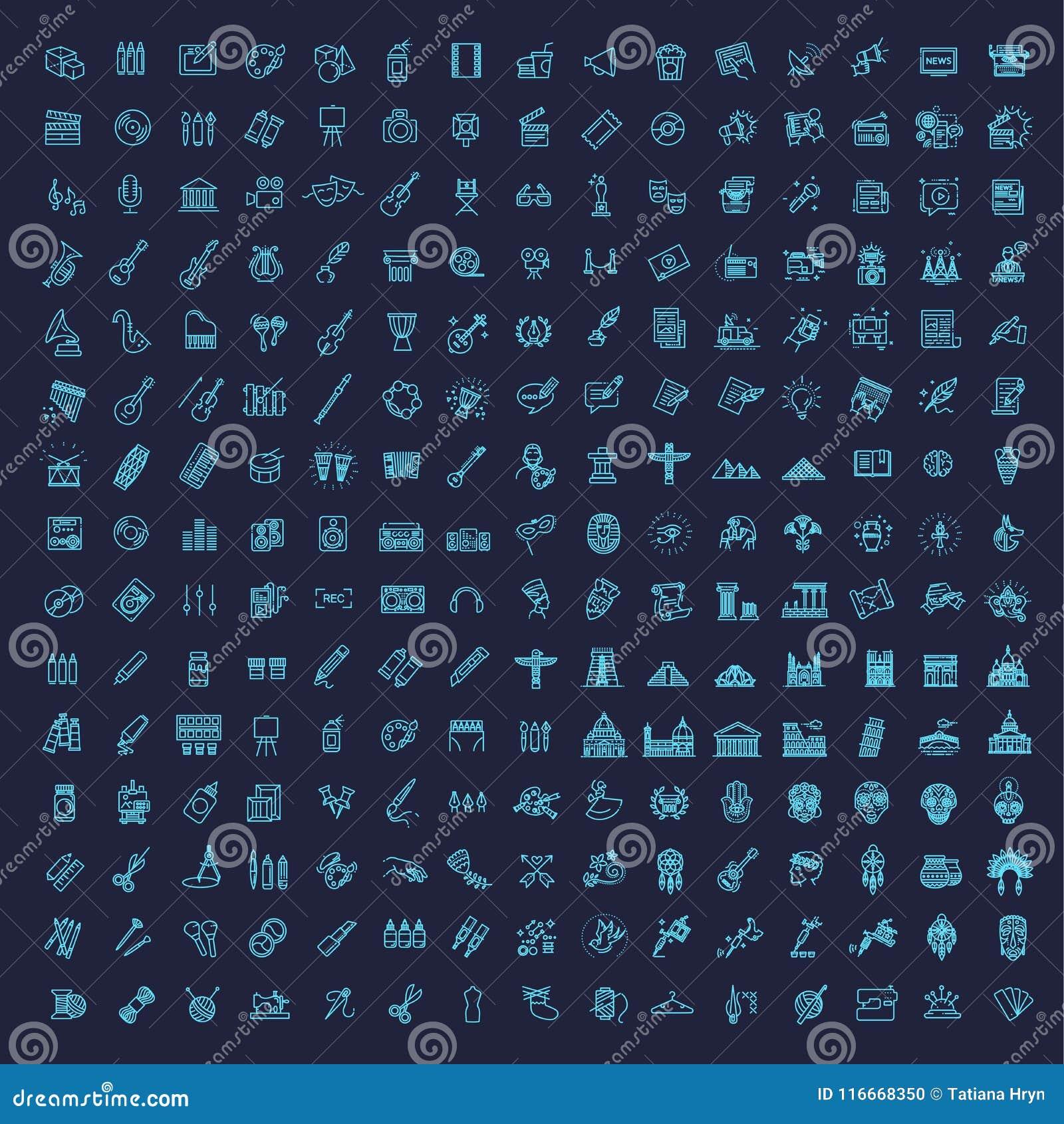 Linje konstsymbolsuppsättning 225 linjära symboler