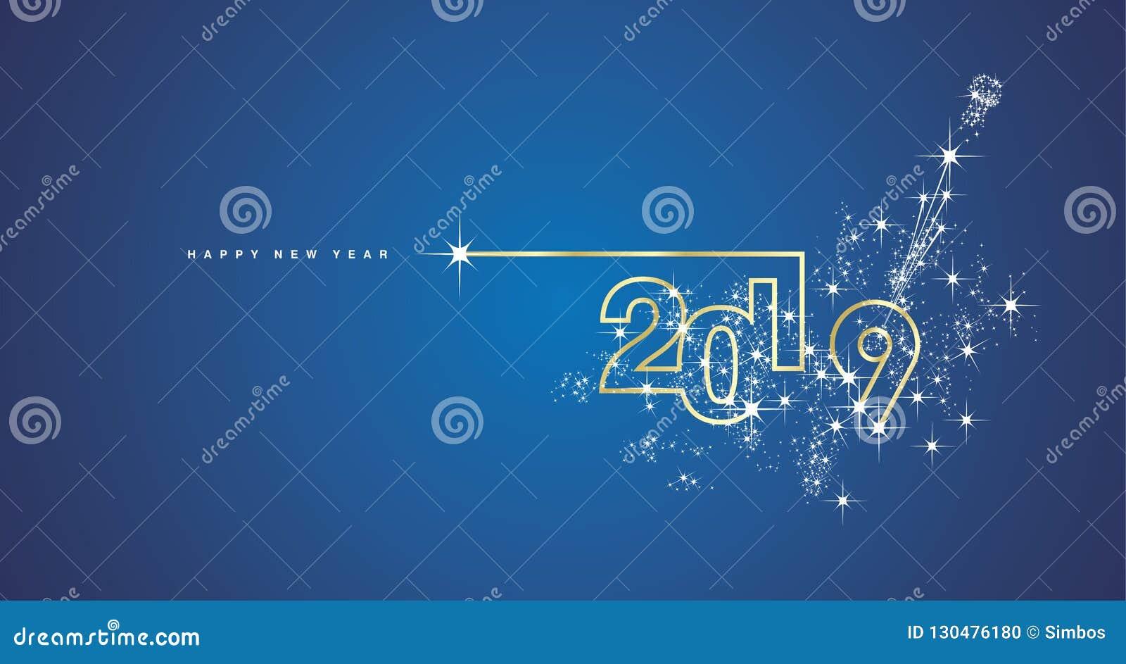 Linje kort för nytt år 2019 för hälsning för vektor för designfyrverkerichampagne guld- glänsande vitt blått