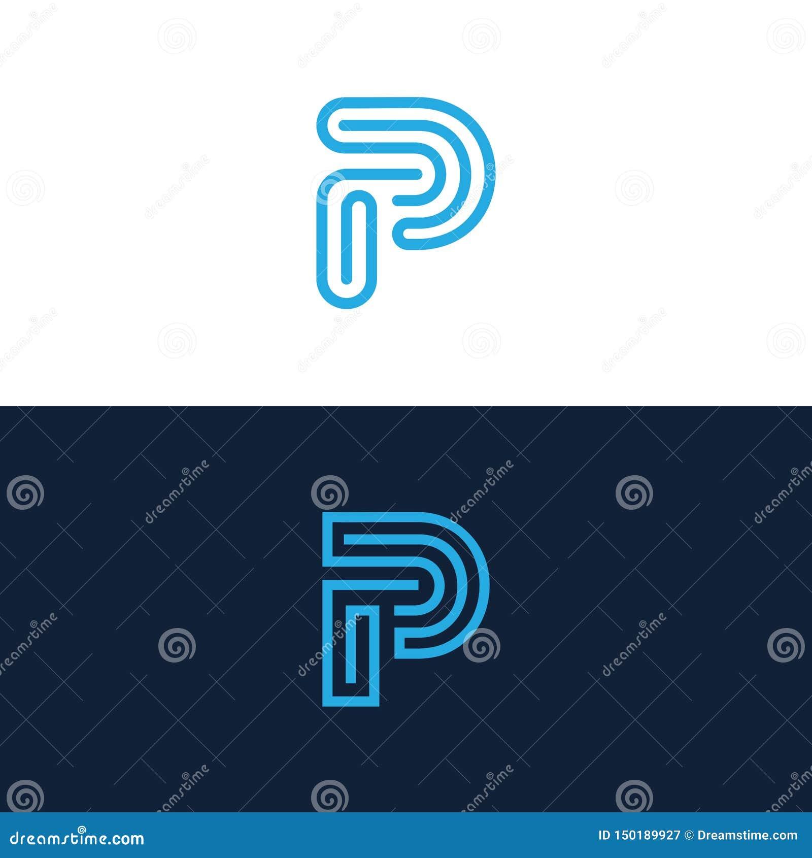 Linje logo för bokstav P
