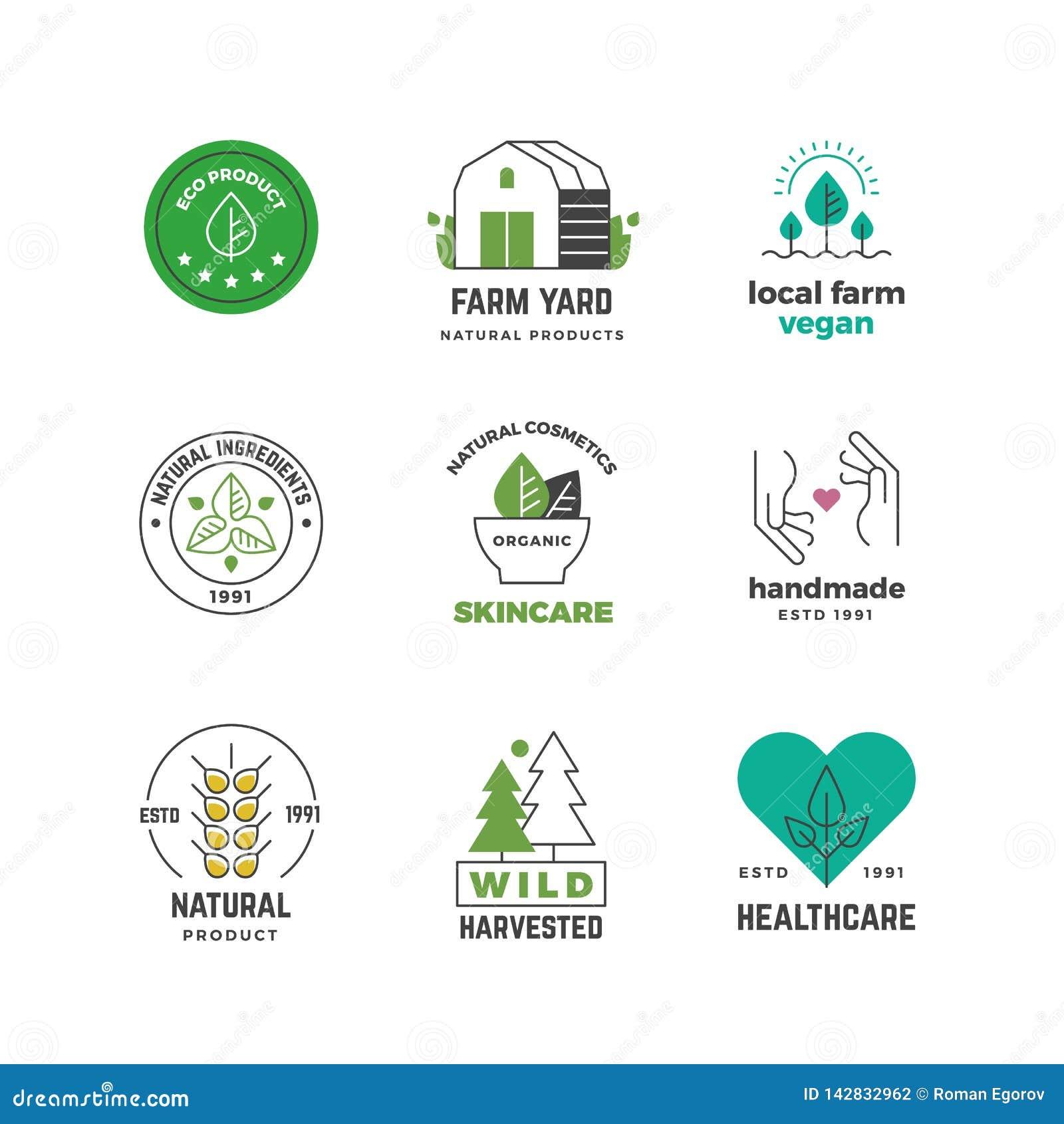 Linje organisk logo Den gröna strikt vegetarian shoppar etiketten, den vegetariska stämpeln för naturväxter, design för restauran