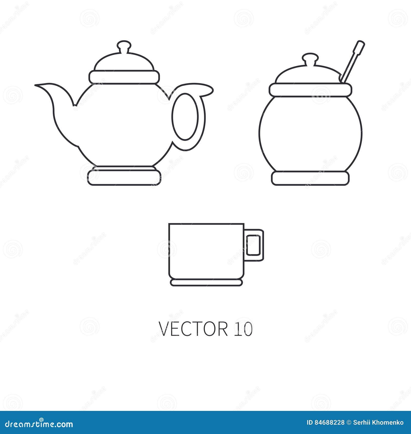 Linje plana vektorkitchenwaresymboler - tekanna, socker-bunke, kopp Bestickhjälpmedel Tecknad filmstil Illustration och beståndsd