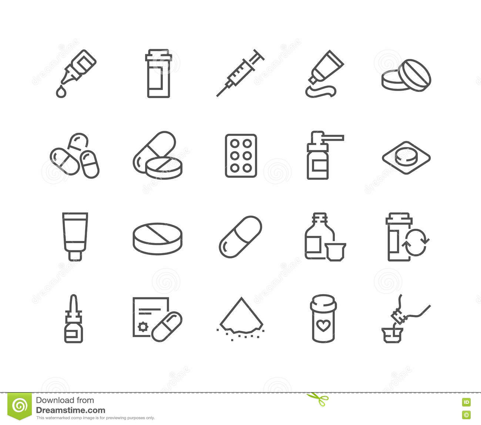 Linje preventivpillersymboler