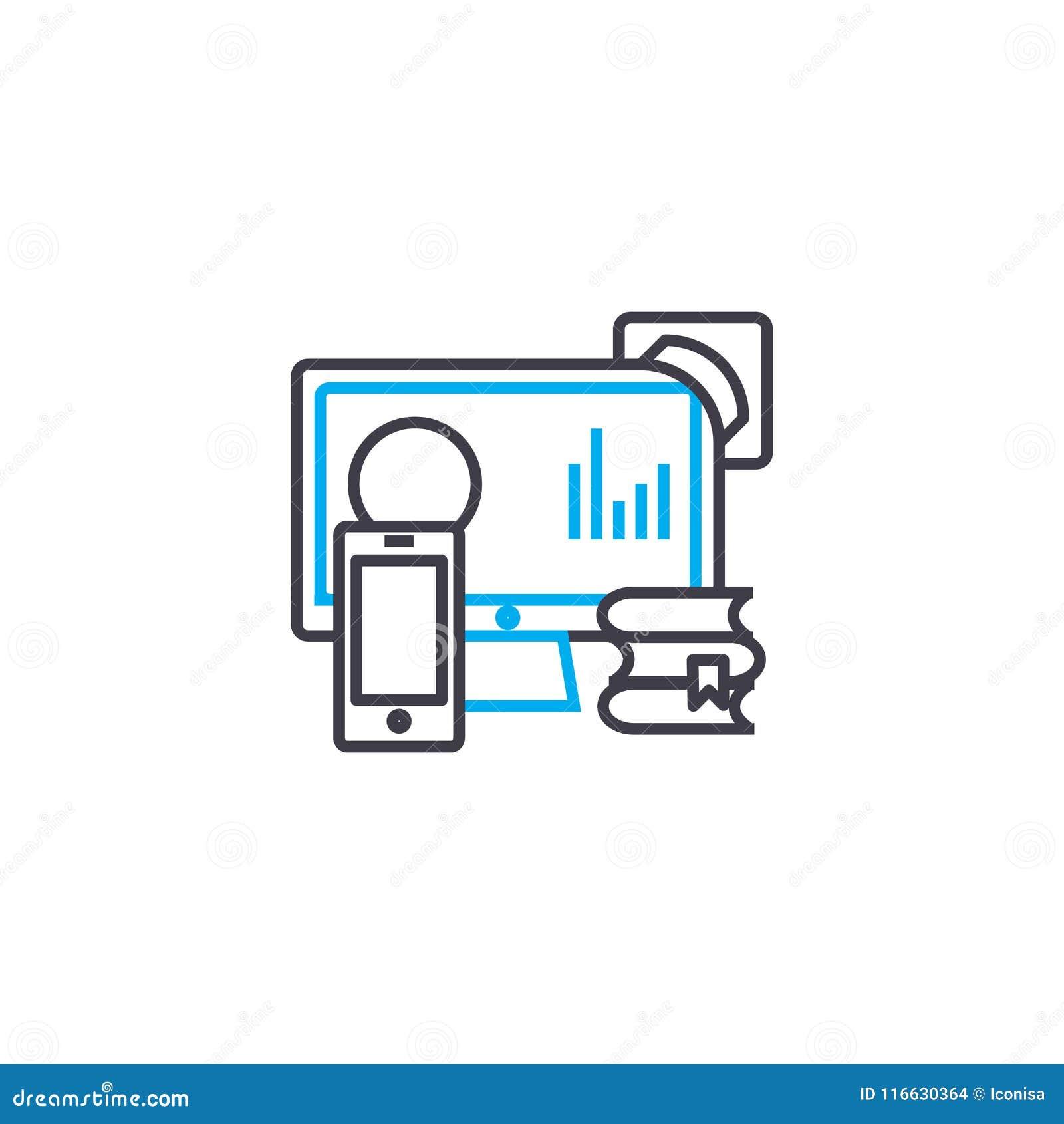 Linje slaglängdsymbol för vektor för informationskällor tunn Informationskällor skisserar illustrationen, det linjära tecknet, sy