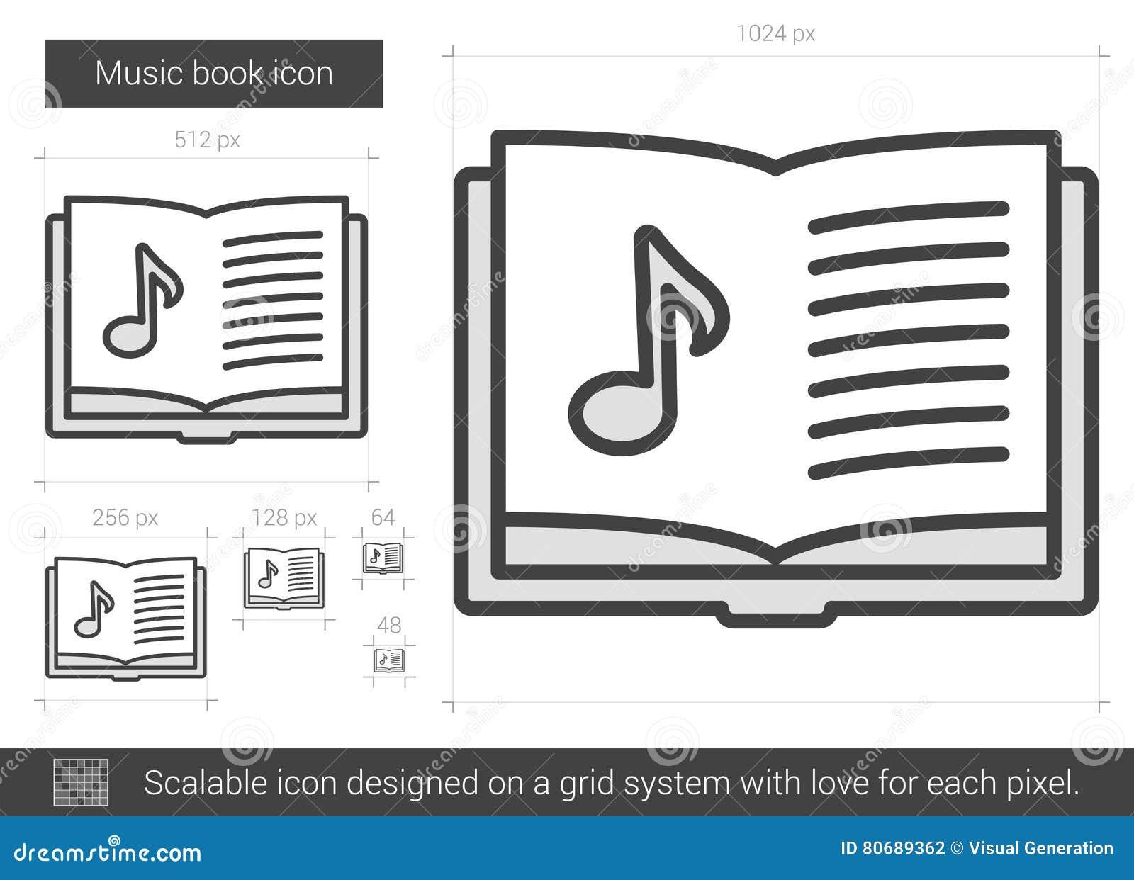Linje symbol för musikbok