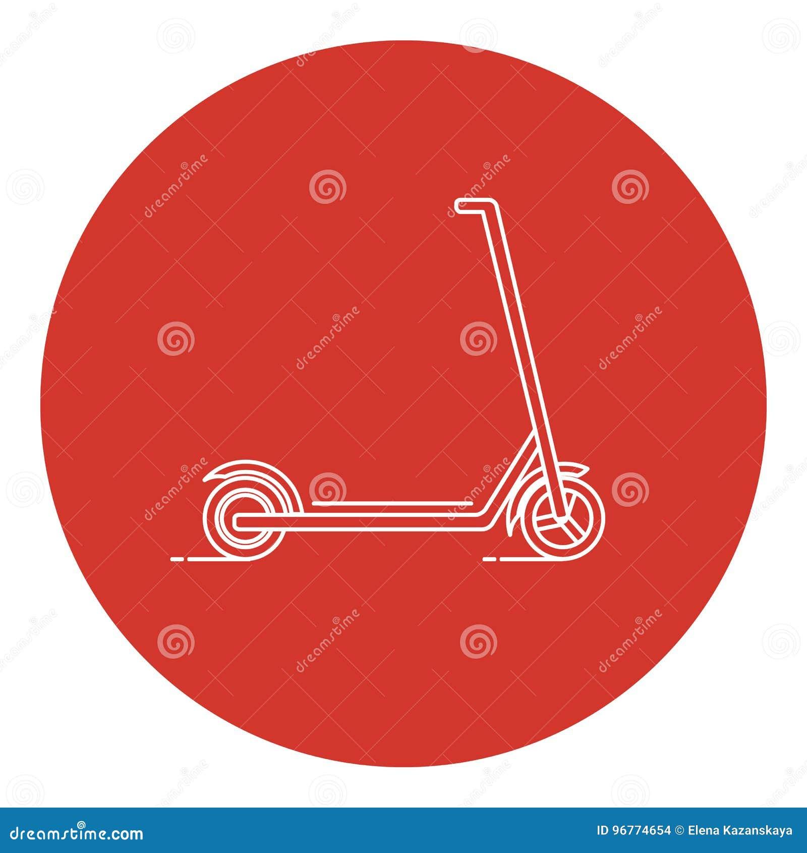 Linje symbol för sparkcykel för konststilspark