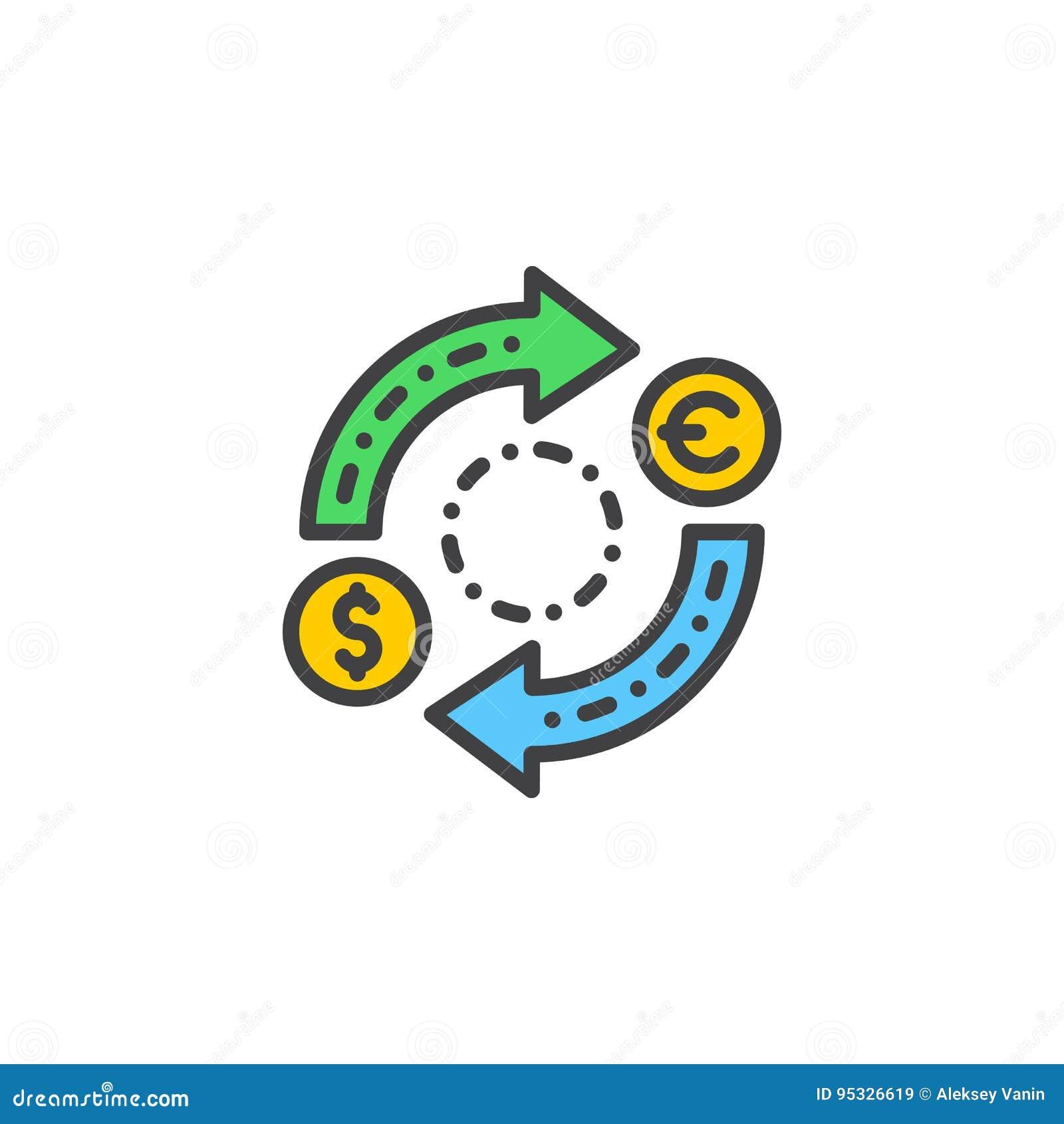 Linje symbol, fyllt översiktsvektortecken, linjär färgrik pictogram som för valutautbyte isoleras på vit