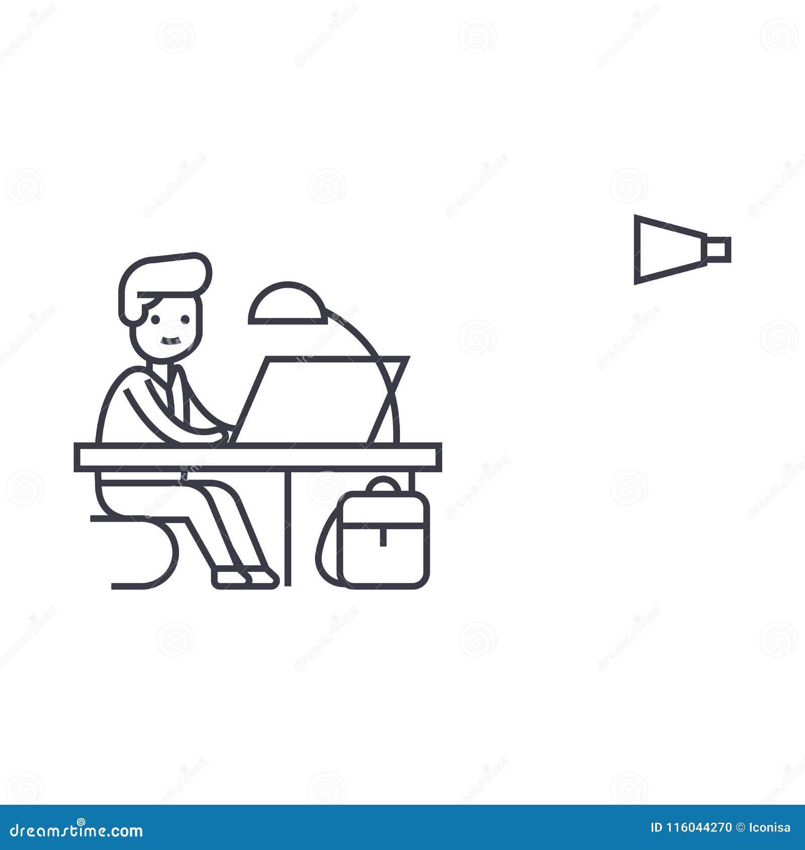 Linje symbol, tecken, illustration för vektor för kontorsarbete på bakgrund, redigerbara slaglängder
