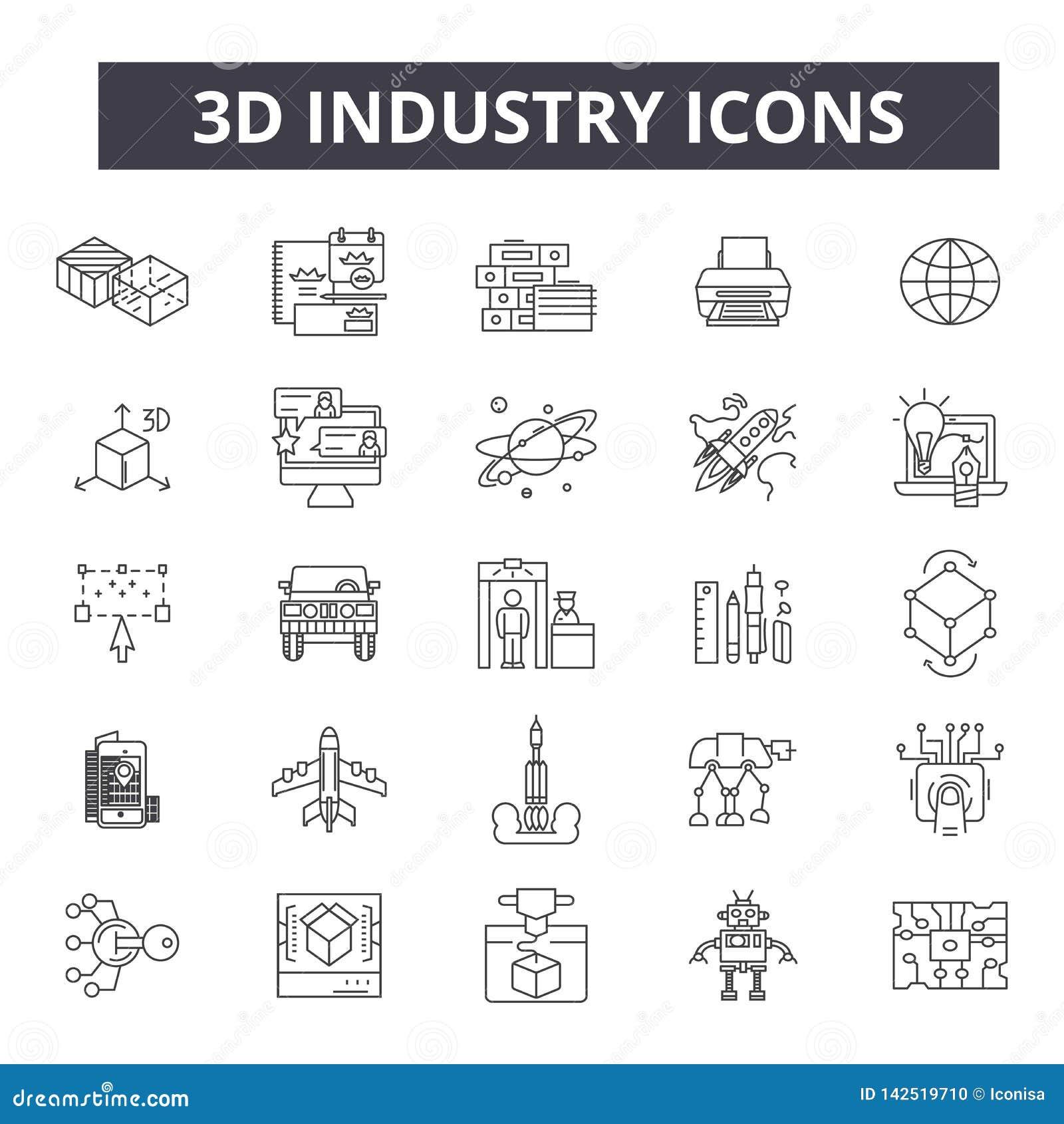 Linje symboler för bransch 3d Redigerbart slaglängdtecken Begreppssymboler: industriell design, teknologi, fabrik, konstruktion