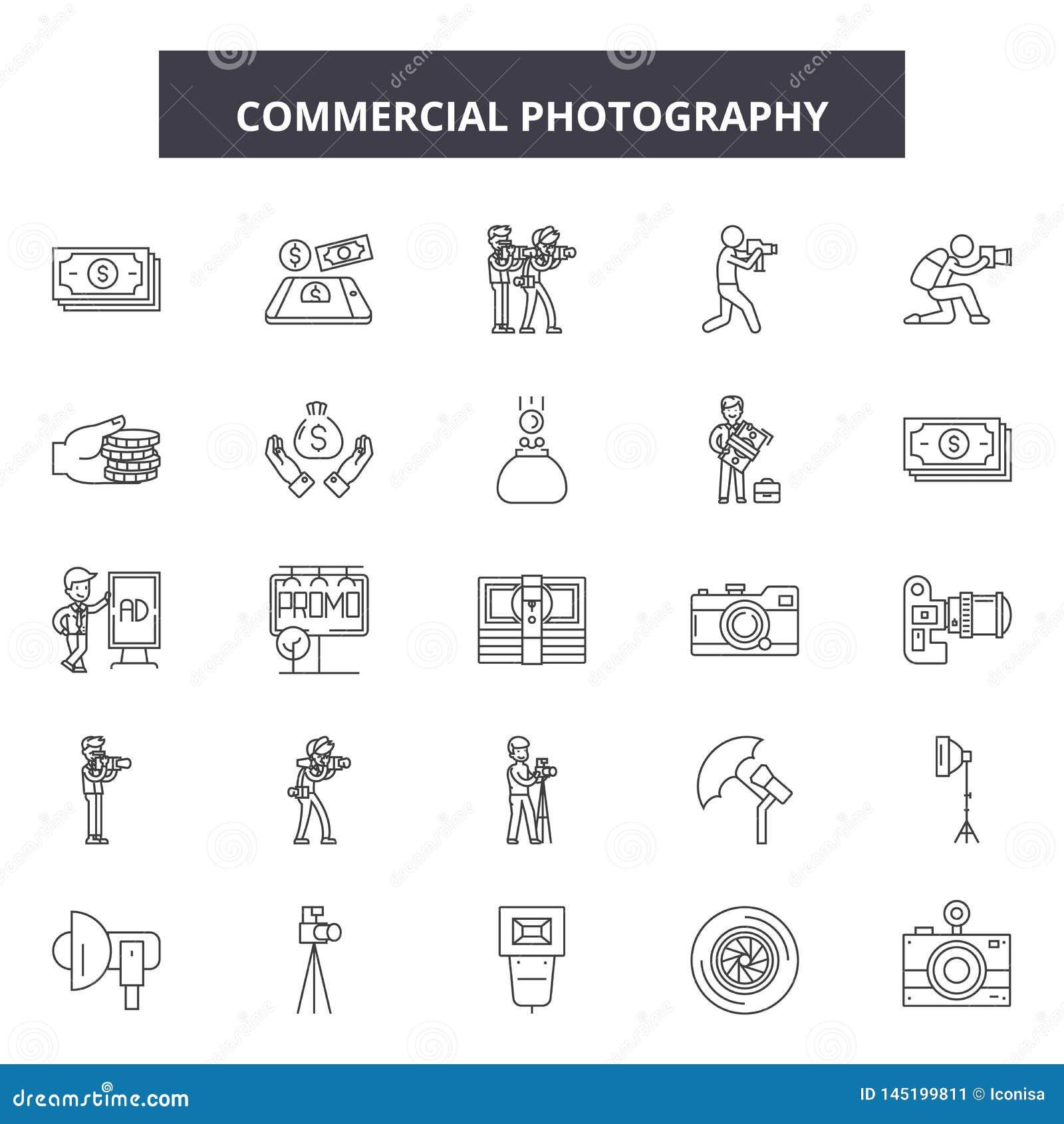 Linje symboler, tecken, vektoruppsättning, översiktsillustrationbegrepp för kommersiellt fotografi