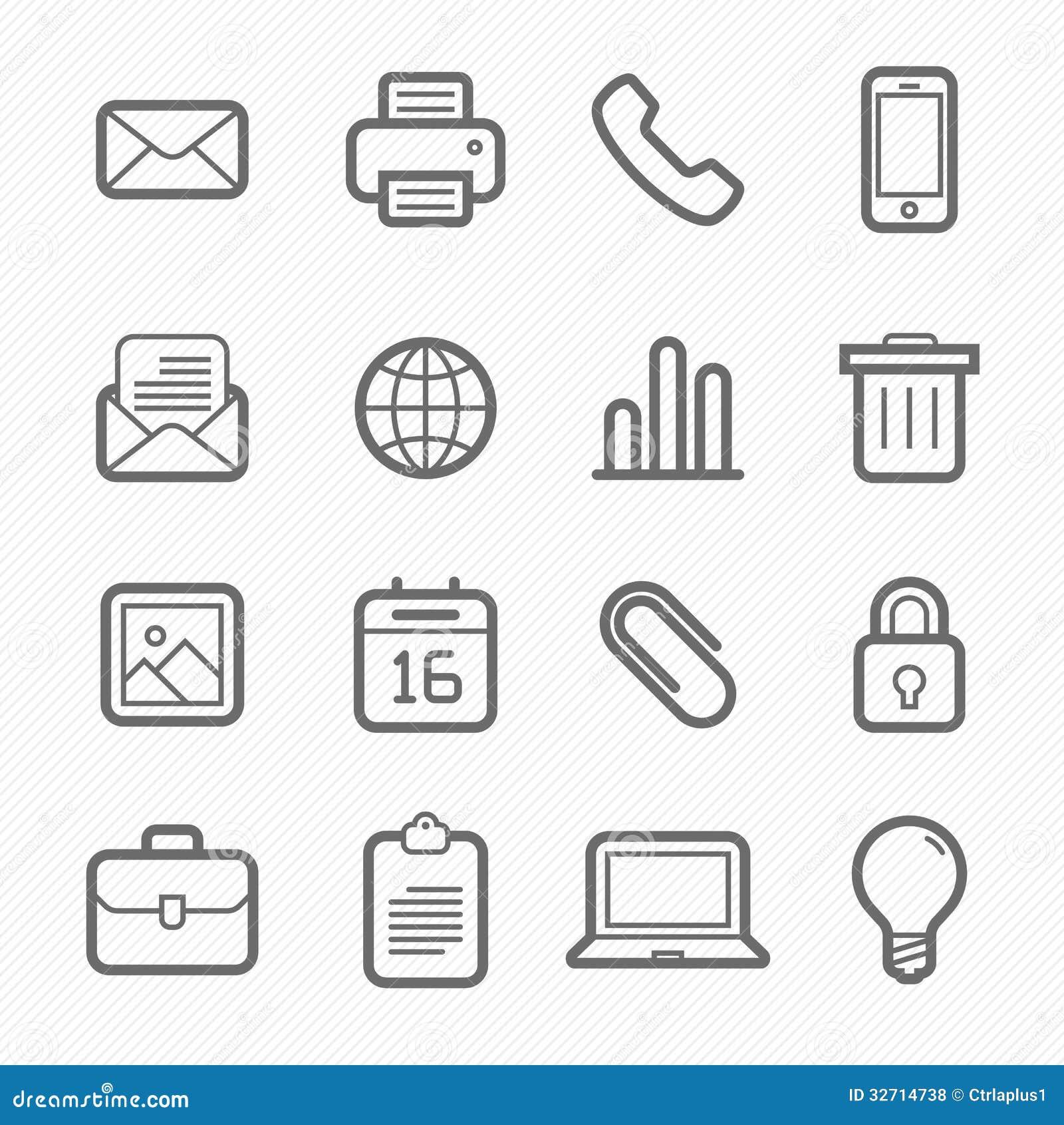 Linje symbolsuppsättning för kontorsbeståndsdelsymbol