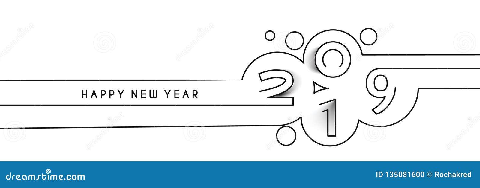 Linje textdesign för lyckligt nytt år 2019