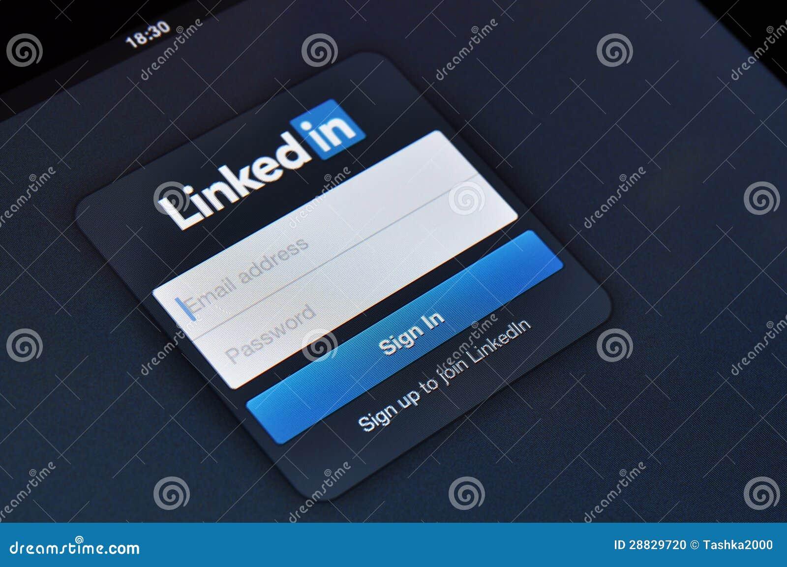 Linkedin Login Page On Apple IPad Screen Editorial Image