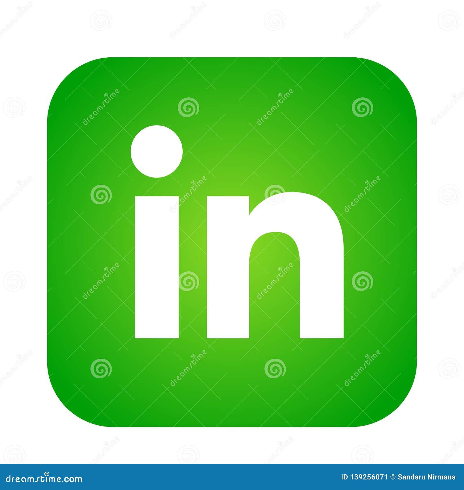 Linkedin Social Media Icon Logo Vector Element In Green On