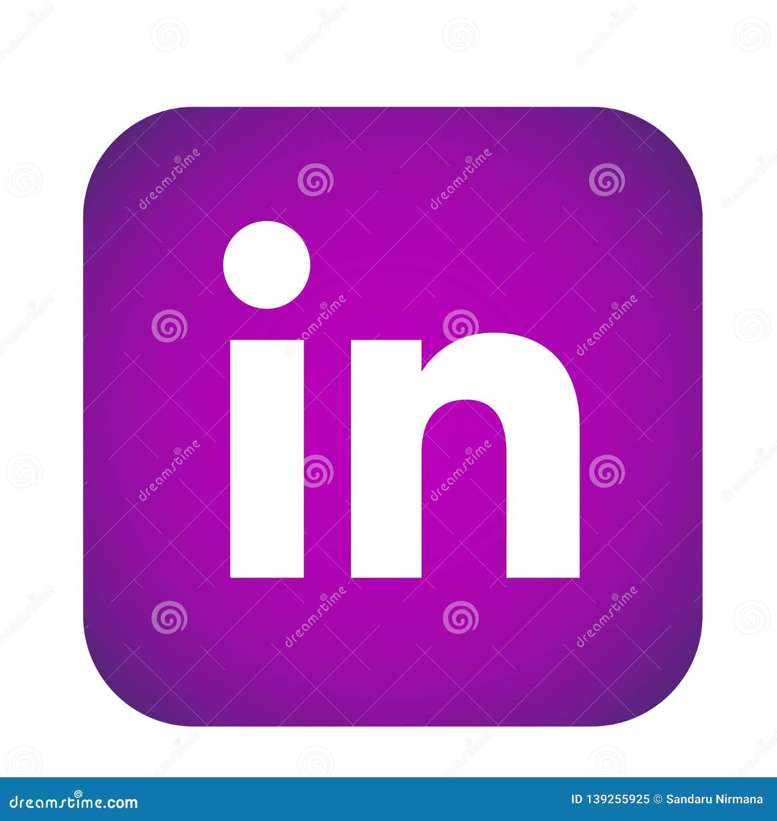 LinkedIn Social Media Icon Logo Vector Element In Purple On White