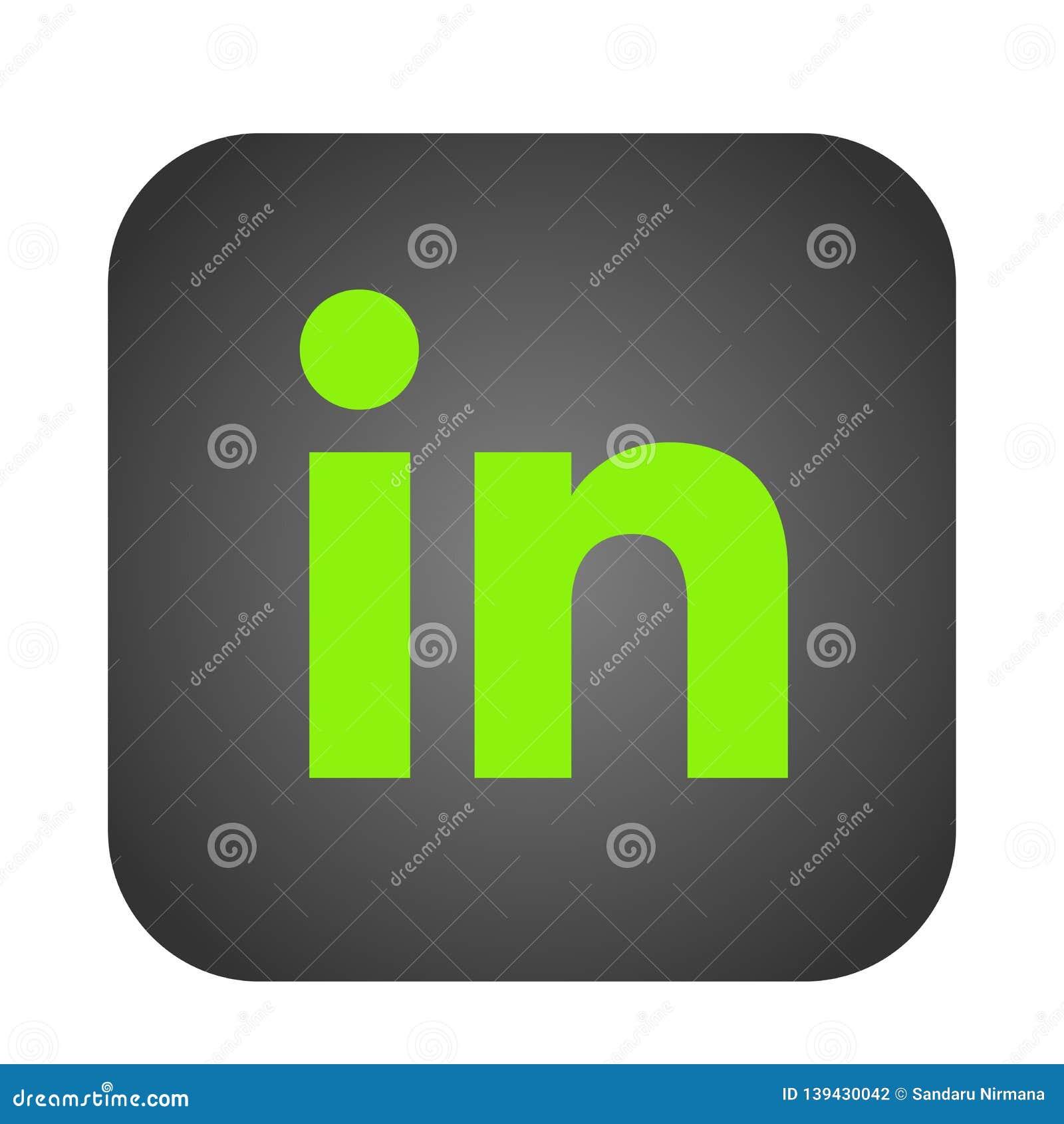Linkedin Social Media Icon Logo Vector Element On White