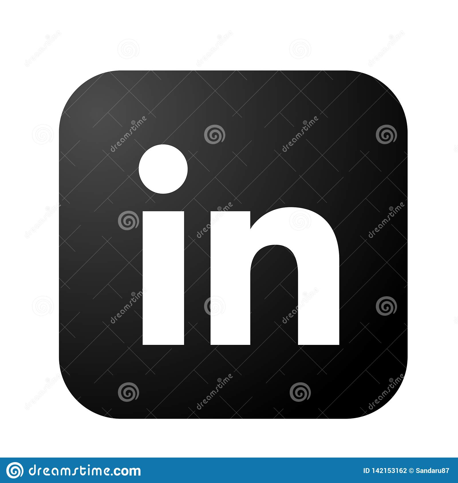 Linkedin Social Media Icon Logo Vector In Black Element On