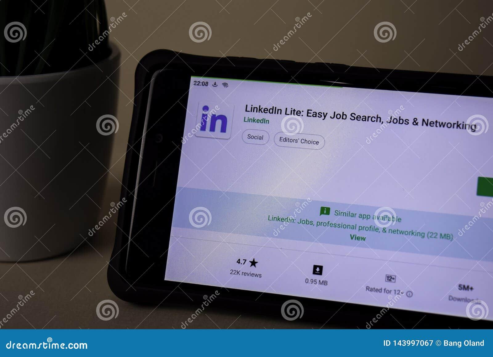 Linkedln Lite Entwickler-Anwendung auf Smartphone-Schirm Einfache Jobsuche, Jobs u.
