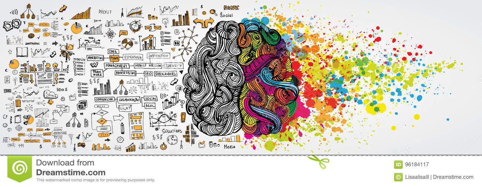 Linker en juiste menselijke hersenen met sociale infographic aan logische kant De creatieve halve en logicahelft van menselijke m
