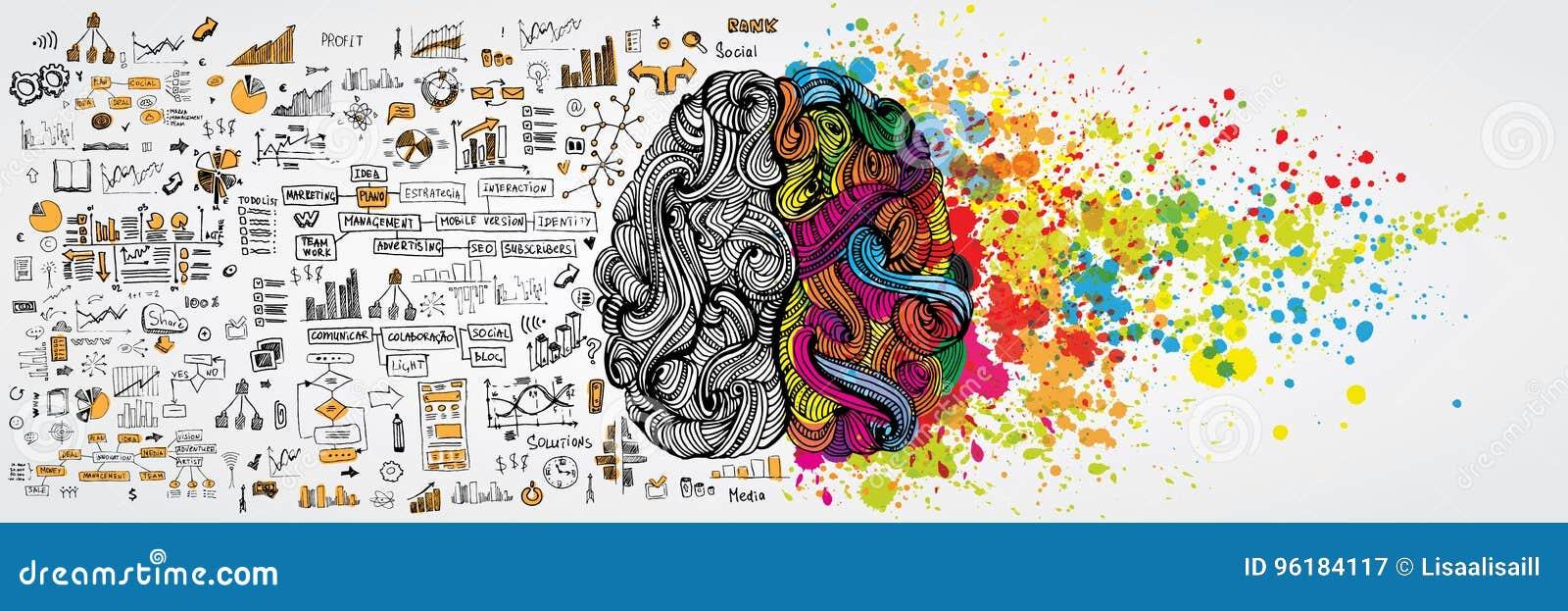 Linkes und rechtes menschliches Gehirn mit sozialinfographic auf logischer Seite Kreative Hälfte und Logikhälfte des Menschenvers